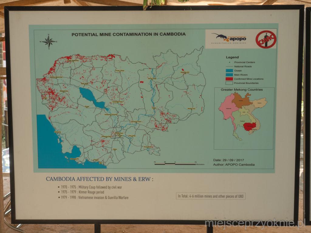 Największe skupiska min w Kambodży