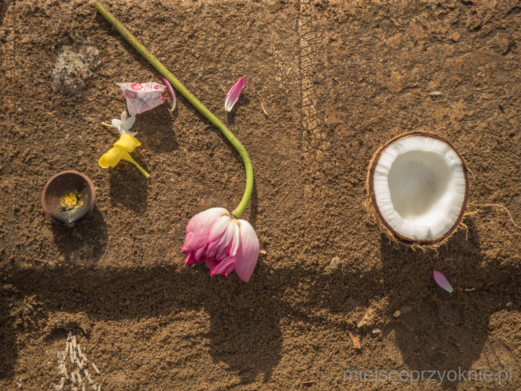 Przed wejściem do świątyni wierni rozbijali kokosy